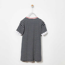 Load image into Gallery viewer, GIRLS NAVY STRIPED DRESS