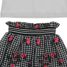 Load image into Gallery viewer, GIRLS 2 PIECE BLACK AND WHITE FLORAL SKIRT