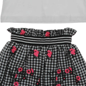 GIRLS 2 PIECE BLACK AND WHITE FLORAL SKIRT