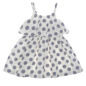 GIRLS NAVY SPOTTED DRESS