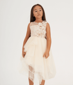 Elegant girls ecru dress