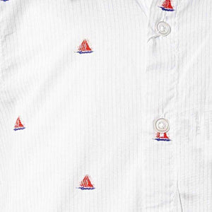 BOYS WHITE SAIL BOAT SHORT SLEEVE SHIRT