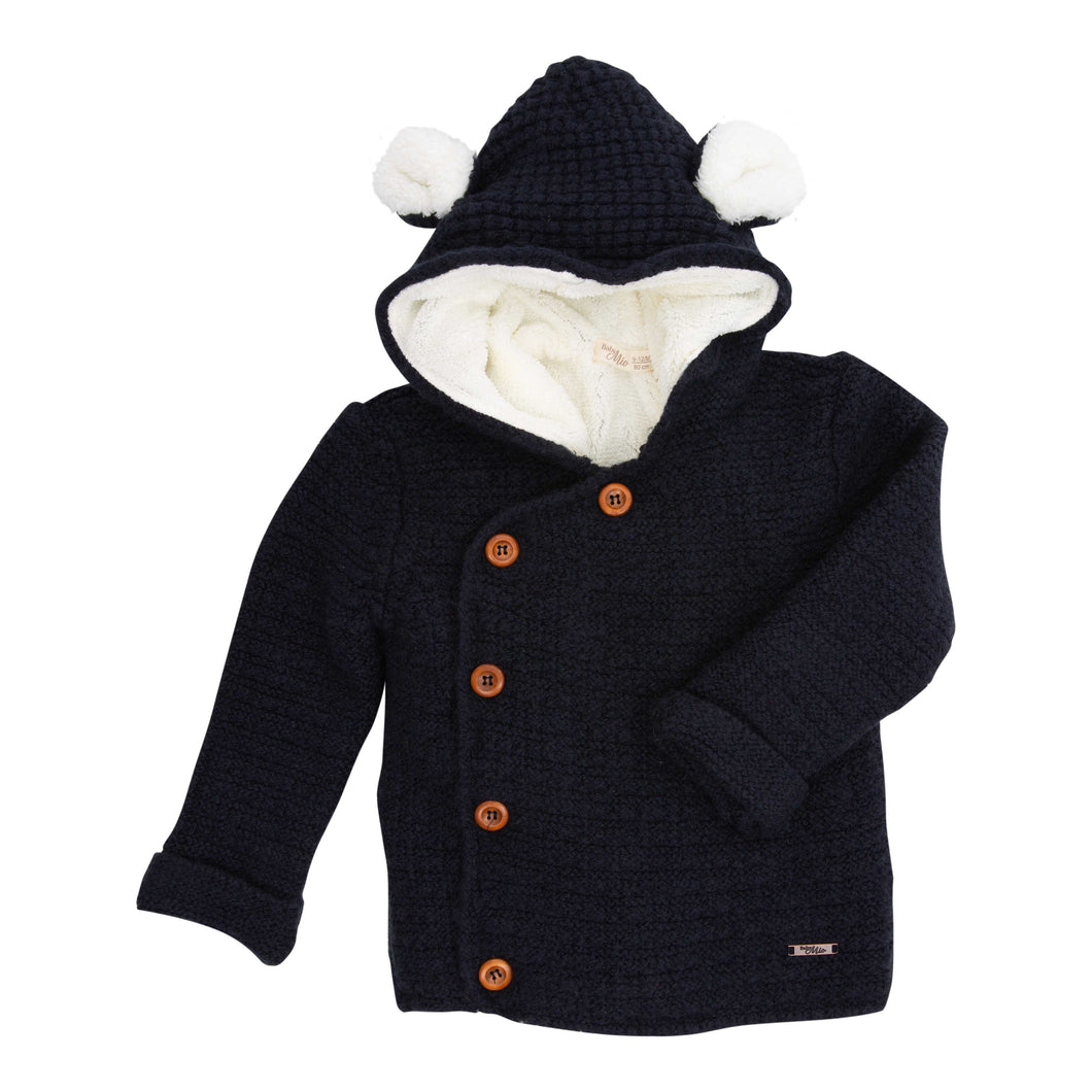 BABY MIO KNITTED NAVY BLUE CARDIGAN