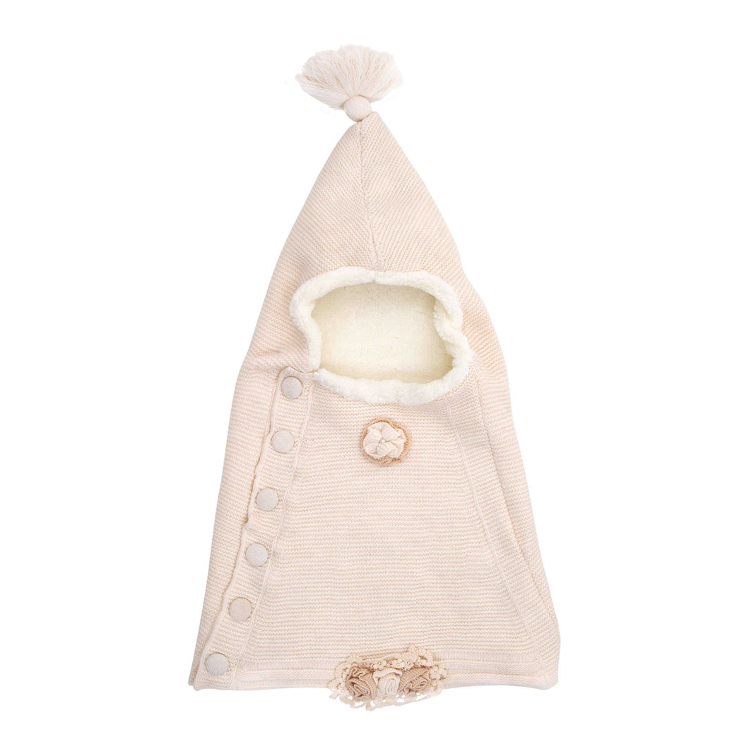 BABY MIO BEIGE HOODED SLEEPING BAG FLOWER