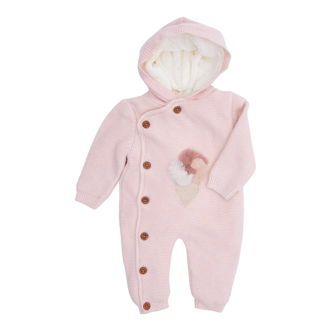 BABY MIO JUMP SUIT PINK WITH HOOD
