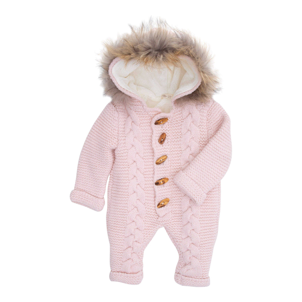 BABY MIO JUMP SUIT PINK REMOVABLE FUR