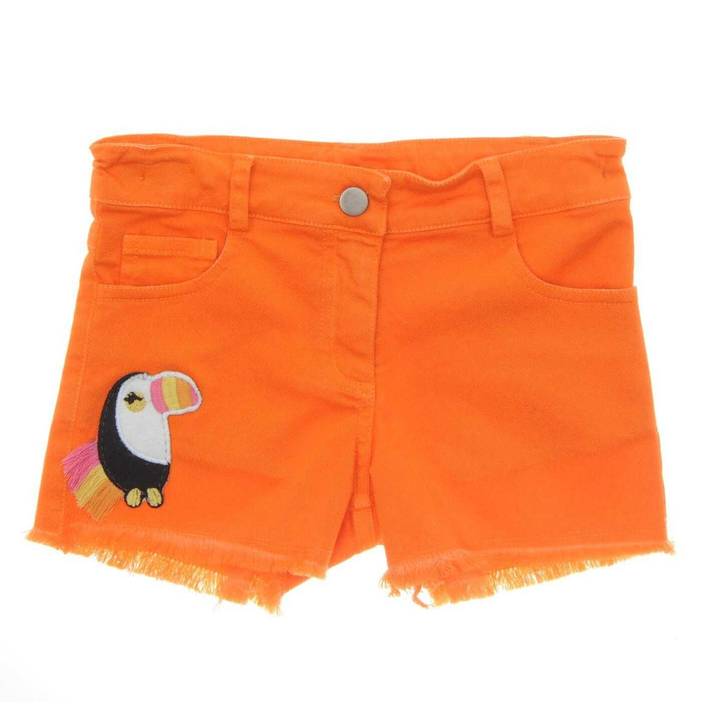 GIRLS TOUCAN DENIM SHORTS ORANGE