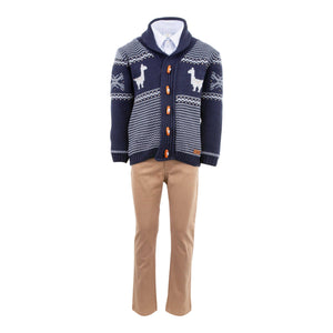 BOYS KNITWEAR 4 PIECE OUTFIT NAVY BLUE