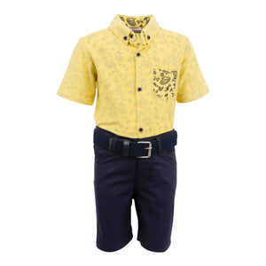 TATTOO 3PC YELLOW SHORTS AND SHIRT OUTFIT