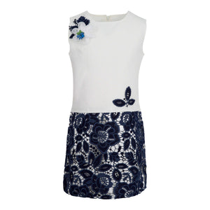GIRLS NAVY BLUE FLORAL LACE SUMMER DRESS