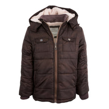 Load image into Gallery viewer, BOYS HOODED CAMEL WINTER COAT CHOCOLATE