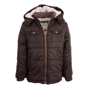 BOYS HOODED CAMEL WINTER COAT CHOCOLATE