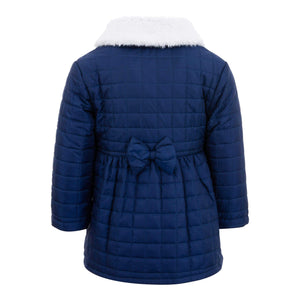 GIRLS NAVY WINTER BUTTON UP DRESS COAT