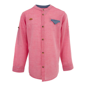 BOYS GRANDAD COLLAR SHIRT BURGUNDY