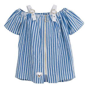 GIRLS BLUE STRIPPED BLOUSE