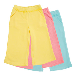 GIRLS YELLOW COTTON LOOSE FIT PANTS