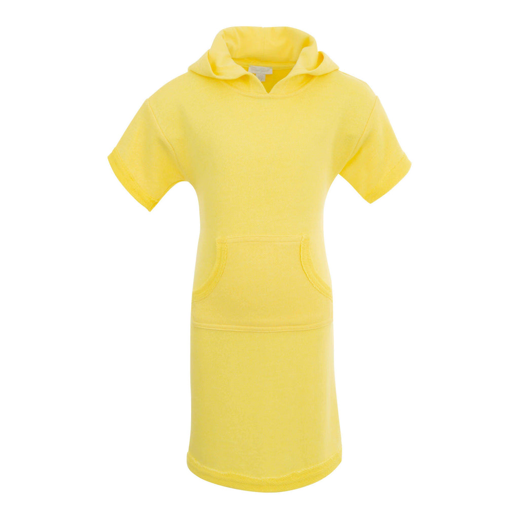GIRLS YELLOW HOODED PONCO DRESS