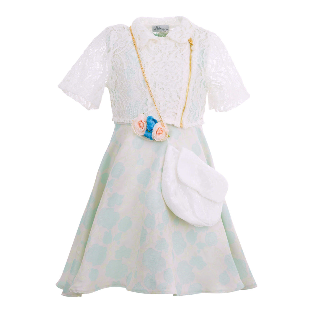 GIRLS 4 PIECE POWDER BLUE DRESS