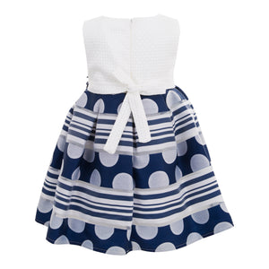 POLIN BABY GIRLS DARK BLUE DRESS