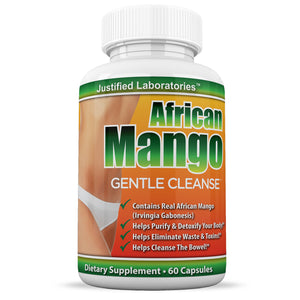 African Mango Gentle Cleanse Total Detox Cleanse Fortified with Flax Seed Aloe and Acidophilus Diet Weight Loss 60 Capsules Per Bottle