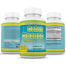 Load image into Gallery viewer, Colon Cleanse 1800 Max Weight Loss Detox Cleanse All Natural with Acai Fruit and Fennel Seeds 60 Capsules Per Bottle