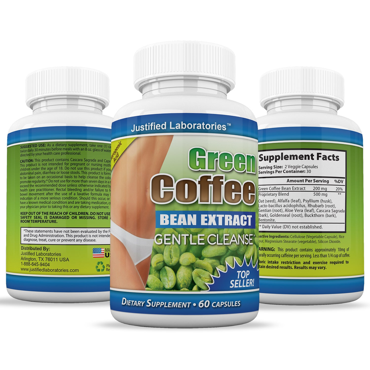 Pure Green Coffee Bean Extract Gentle Cleanse Detox Weight Loss 60