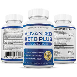 Advanced Keto Pills Plus Ketogenic Supplement Includes goBHB Exogenous Ketones Ketosis Support for Men Women 60 Capsules