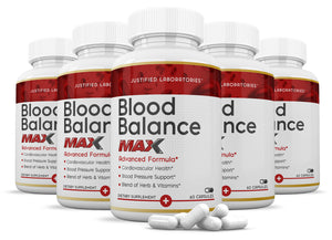 Blood Balance Advanced Max Formula All Natural Blood Pressure Sugar Glucose Support Supplement Pills 60 Capsules
