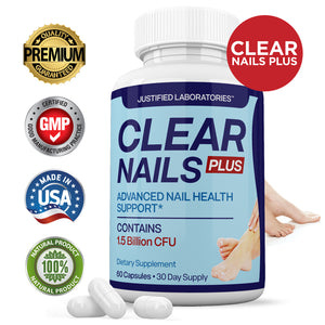 Clear Nails Plus 1.5 Billion CFU Probiotic Pills Supports Strong Healthy Natural Nails Plus 60 Capsules
