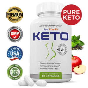 Fast Fit Pure Keto Pills Advanced Ketogenic Supplement Includes goBHB Exogenous Ketones Ketosis Support for Men Women 60 Capsules