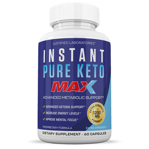 Instant Keto Max 1200MG Keto Pills Advanced BHB Ketogenic Supplement Exogenous Ketones Ketosis for Men Women 60 Capsules 1 Bottle