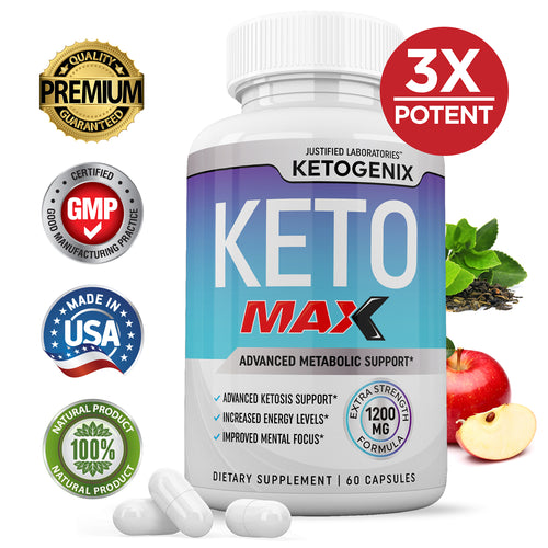 3 X Stronger Ketogenix Max 1200MG Advanced goBHB Ketogenic Supplement Exogenous Ketones Ketosis Support Keto Pills for Men Women 60 Capsules