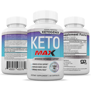 Ketogenix Max 1200mg Keto Pills Ketogenic Supplement Includes goBHB Exogenous Ketones Apple Cider Vinegar Macadamia Nut Oil and Green Tea Advanced Ketosis Support for Men Women 60 Capsules 1 Bottle