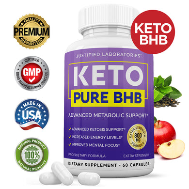 Keto Pure BHB Keto Pills Advanced BHB Ketogenic Supplement Exogenous Ketones Ketosis for Men Women 60 Capsules 1 Bottle