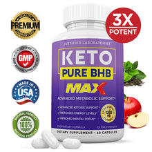 Load image into Gallery viewer, Keto Pure BHB Max 1200MG Keto Pills Advanced BHB Ketogenic Supplement Exogenous Ketones Ketosis for Men Women 60 Capsules 1 Bottle