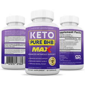 Keto Pure BHB Max 1200MG Keto Pills Advanced BHB Ketogenic Supplement Exogenous Ketones Ketosis for Men Women 60 Capsules 1 Bottle