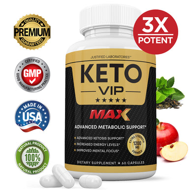 Keto VIP Max 1200MG Keto Pills Advanced BHB Ketogenic Supplement Exogenous Ketones Ketosis for Men Women 60 Capsules 1 Bottle