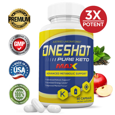 One Shot Keto Pills Advanced BHB Ketogenic Supplement Exogenous Ketones Ketosis for Men Women 60 Capsules 1 Bottle