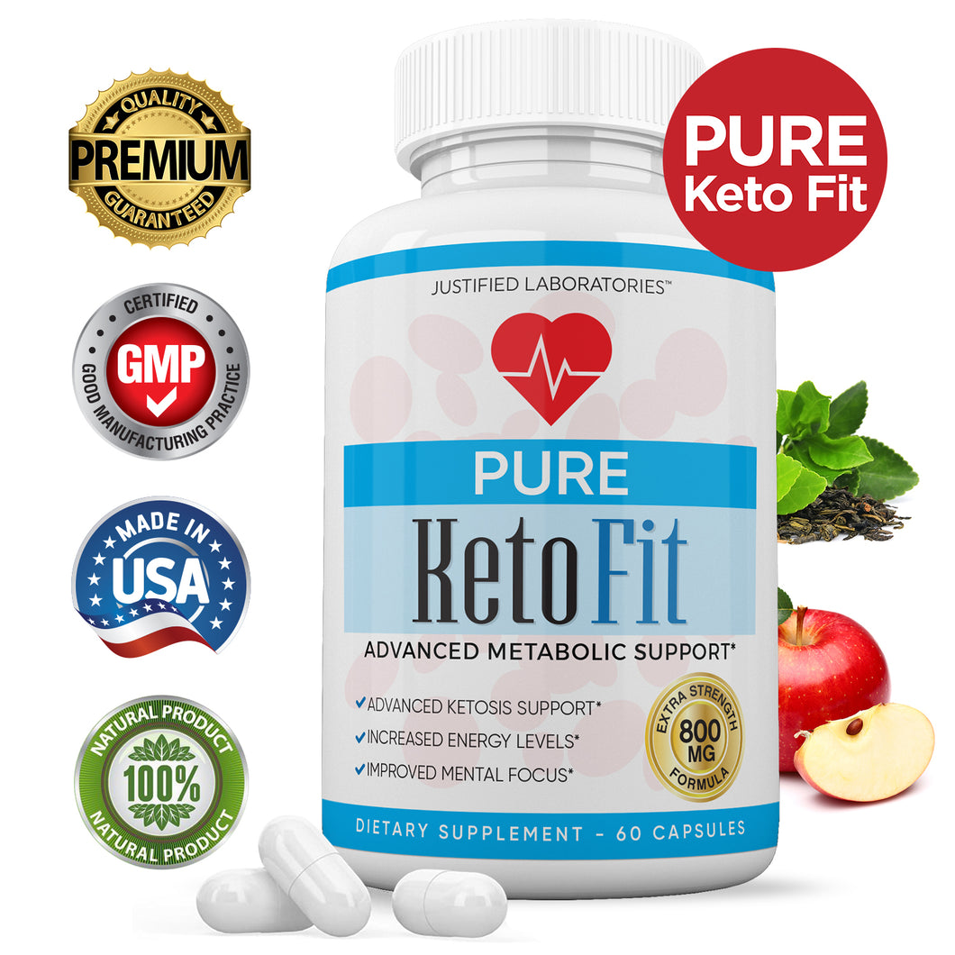 Pure Keto Fit Pills Advanced BHB Ketogenic Supplement Exogenous Ketones Ketosis for Men Women 60 Capsules 1 Bottle