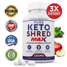 Load image into Gallery viewer, Pure Shred Max 1200MG Keto Pills Advanced BHB Ketogenic Supplement Exogenous Ketones Ketosis for Men Women 60 Capsules 1 Bottle