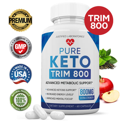 Pure Keto Trim 800 Advanced BHB Ketogenic Supplement Exogenous Ketones Ketosis for Men Women 60 Capsules 1 Bottle
