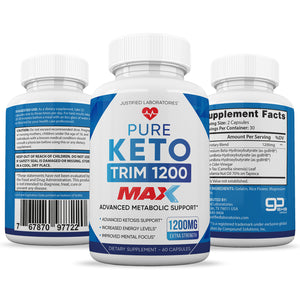 Pure Keto Trim 1200 Max 1200MG Keto Pills Advanced BHB Ketogenic Supplement Exogenous Ketones Ketosis for Men Women 60 Capsules 1 Bottle