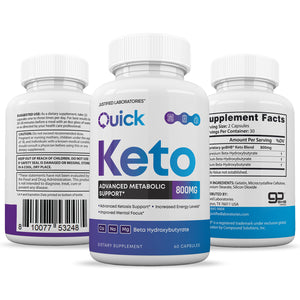 Quick Keto Advanced goBHB Ketogenic Supplement Ketosis Support for Men Women 60 Capsules