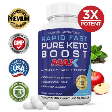 Rapid Fast Pure Keto Boost Max 1200MG Keto Pills Advanced BHB Ketogenic Supplement Exogenous Ketones Ketosis for Men Women 60 Capsules 1 Bottle…