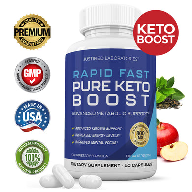 Rapid Fast Pure Keto Boost Pills Advanced BHB Ketogenic Supplement Exogenous Ketones Ketosis for Men Women 60 Capsules 1 Bottle