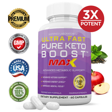 Ultra Fast Pure Keto Boost MAX 1200MG Advanced BHB Ketogenic Exogenous Ketones 60 Capsules