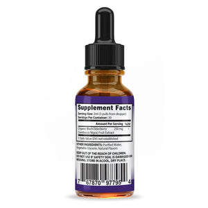 Organic Elderberry Drops Liquid Extract Daily Immune System Support 250MG Sambucus Nigra for Kids & Adults