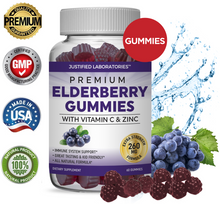 Load image into Gallery viewer, Elderberry Gummies Double Strength Immune Support Gummy Includes Vitamin C Zinc