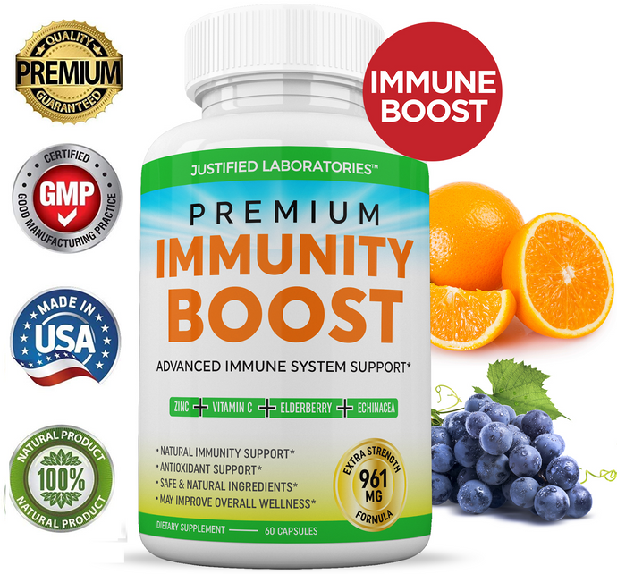 Premium Immunity Boost Supplement Pills Includes Elderberry Vitamin C Echinacea Zinc Garlic Bulb Advanced Immune System Booster Powerful Antioxidant Supports Overall Wellness 60 Capsules
