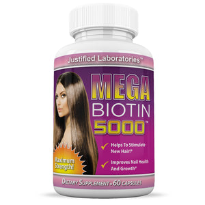 Mega Biotin 5000 Stimulate New Hair Nail Growth Maximum Strength B7 60 Pills